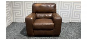 Lucca Brown Leather Armchair Sisi Italia Semi-Aniline With Wooden Legs - Few Scuffs Colour Faded (see images) Ex-Display Showroom Model 47563
