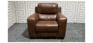 Lucca Brown Leather Armchair Electric Recliner Sisi Italia Semi-Aniline With Wooden Legs - Colour Faded Few Scuffs (see images) Ex-Display Showroom Model 47564