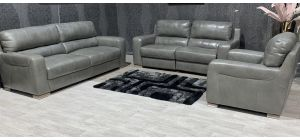 Lucca Grey Leather 4 Seater Static With 3 + 1 Electric Recliner Set Sisi Italia Semi-Aniline With Wooden Legs Ex-Display Showroom Model 47572