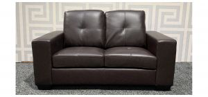 Brown Square Arm Bonded Leather Regular Sofa Ex-Display Showroom Model 47583