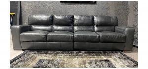 Lucca Dark Grey 5 Seater Leather Sofa Sisi Italia Semi-Aniline With Wooden Legs Ex-Display Showroom Model 47590