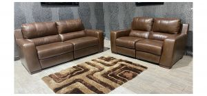 Lucca Brown Leather 3 + 2 Sofa Set Electric Recliner Sisi Italia Semi-Aniline With Wooden Legs Ex-Display Showroom Model 47591