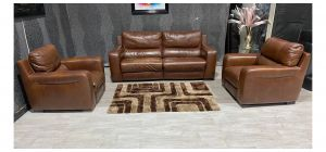Lucca Brown Leather 3 + 1 Electric Recliners With Static Chair Sisi Italia Semi-Aniline With Wooden Legs - Colour Fade With Few Scuffs (see images) Ex-Display Showroom Model 47592