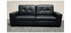 Black Square Arm Bonded Leather Large Sofa Ex-Display Showroom Model 47604