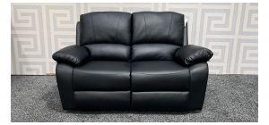 Rockford Black Bonded Leather Regular Sofa Manual Recliner Ex-Display Showroom Model 47622