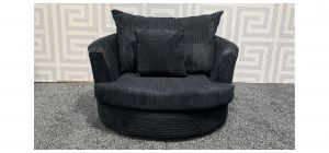 Black Fabric Swivel Chair - Scuff On Right Arm (see images) Ex-Display Showroom Model 47623