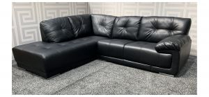Alexis Black LHF Bonded Leather Corner Sofa With Chrome Legs - Small Scuff On Top (see images) Ex-Display Showroom Model 47634