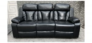 Somerton Black Leathaire Large Sofa Manual Recliner - Bent Rear Right Seat Frame (see images) Ex-Display Showroom Model 47648