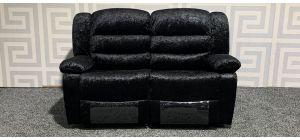 Roma Black Regular Fabric Sofa Manual Recliner Crushed Velvet Ex-Display Showroom Model 47654