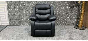Roma Black Bonded Leather Armchair Manual Recliner Ex-Display Showroom Model 47657