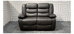 Roma Brown Bonded Leather Regular Sofa Manual Recliner - Few Scuffs (see images) Ex-Display Showroom Model 47662