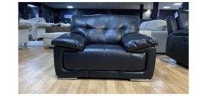 Alexis Black Bonded Leather Armchair With Chrome Legs Ex-Display Showroom Model 47673