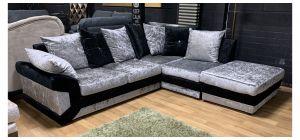 Vegas Black RHF And Silver Fabric Corner Sofa Crushed Velvet With Scatter Back Ex-Display Showroom Model 47680