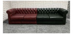 Chesterfield Red And Racing Green 4 Seater Leather Sofa With Wooden Legs Ex-Display Showroom Model 47682