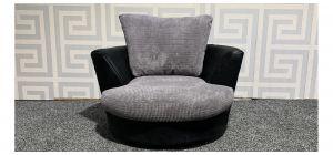 Black And Grey Fabric Swivel Chair Ex-Display Showroom Model 47684