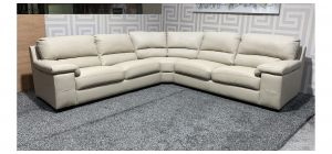 Cream Bonded 2C2 Leather Corner Sofa With Wooden Legs Ex-Display Showroom Model 47685