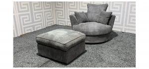Grey Fabric Swivel Chair with Footstool Ex-Display Showroom Model 47688