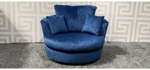 Blue Fabric Swivel Chair - Small Scuff On Rear Top (see images) Ex-Display Showroom Model 47690