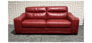 Venezia Red Large Leather Sofa Sisi Italia Semi-Aniline With Wooden Legs Ex-Display Showroom Model 47694