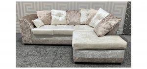 Dylan RHF Brown And Cream Crushed Velvet Corner Sofa With Scatter Back Ex-Display Showroom Model 47697