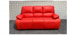 Valencia Red Bonded Leather Large Sofa Manual Recliner With Drinks Holder Ex-Display Showroom Model 47702