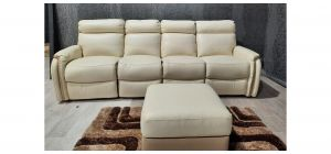 Newtrend Cream Leather 4 Seater Electric Recliner With Storage Footstool Ex-Display Showroom Model 47703