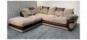 Dino Brown LHF Fabric Corner Sofa With Scatter Back Ex-Display Showroom Model 47707