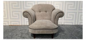 Mink Round Arm Fabric Armchair With Black Piping And Wooden Legs Ex-Display Showroom Model 47708