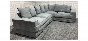 Kudos Grey RHF Fabric Corner Sofa With Scatter Back And Chrome Legs Ex-Display Showroom Model 47712