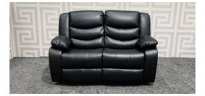 Roma Black Bonded Leather Regular Sofa Manual Recliner - Frame Gap In Back Seats (see images) Ex-Display Showroom Model 47723