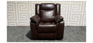 Brooklyn Brandy Leathaire Armchair Manual Recliner With Contrast Stitching Ex-Display Showroom Model 47729
