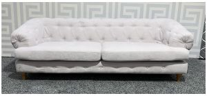 Chesterfield Cream Large Fabric Sofa With Wooden Legs - Few Marks (see images) Ex-Display Showroom Model 47741