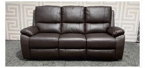 Panther Brown Bonded Leather Large Sofa Manual Recliner Ex-Display Showroom Model 47742