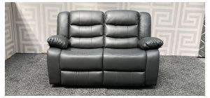 Roma Grey Bonded Leather Regular Sofa Manual Recliner Ex-Display Showroom Model 47744
