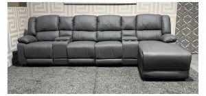 London Grey RHF Bonded Leather Corner Sofa Manual Recliner With Drinks Holders Ex-Display Showroom Model 47745