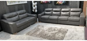 Venezia Semi Aniline Leather Sofa Set 5 + 3 Seater Grey Sisi-Italia Ex-Display Showroom Model 46783