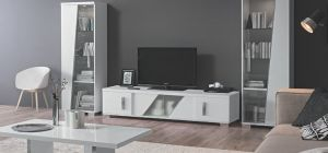 Lisa White Four Door TV Unit Assembled