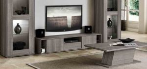 Futura Grey Sawmarked Oak Four Door TV Unit Assembled
