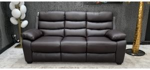 Ambassador Leather Sofa 3 Seater Brown