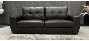 Athens Sofa 3 Seater Brown Finished In PU Ex-Display Showroom Model 46755