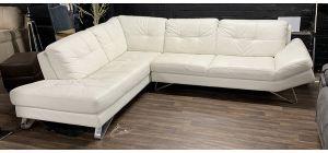 Bahia Semi Aniline Leather Corner Sofa LHF White With Chrome Legs Ex-Display Showroom Model