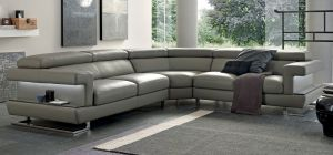 Bolero Large Aniline Leather Corner Sofa Cream And Brown 2C2