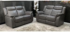 Brooklyn Leather Sofa Set 2 + 2 Seater Steel Grey