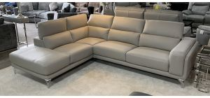 Linea Leather Corner Sofa LHF Light Grey With Adjustable Headrests And Chrome Legs