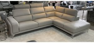 Linea Leather Corner Sofa RHF Light Grey With Adjustable Headrests And Chrome Legs