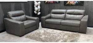 Venezia Semi Aniline Leather Sofa Set 3 + 1 Seater Grey Ex-Display Showroom Model 46743