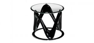 Drift Circular End Table Clear Glass Top with Black High Gloss and Chrome Base