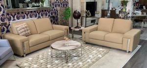 Eghoiste Semi Aniline Leather Sofa Set 3 + 2 Seater Cream With Chrome Legs