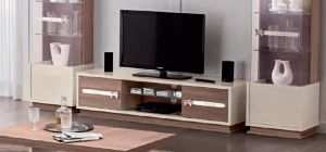 Evolution H Ivory and Wood TV Unit Assembled