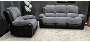 Minnesota Grey Fabric 3 Seater Static Sofa With Manual Recliner Armchair Ex-Display Showroom Model 46810